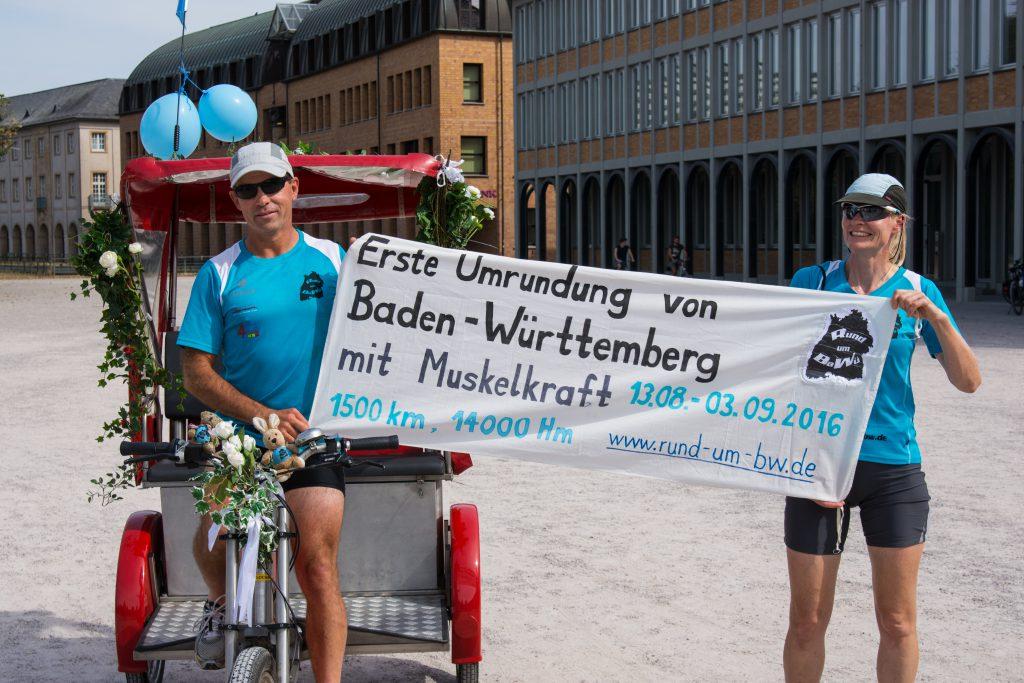 Umrundung Baden Württemberg 2016 - Mit Rikscha zumZiel