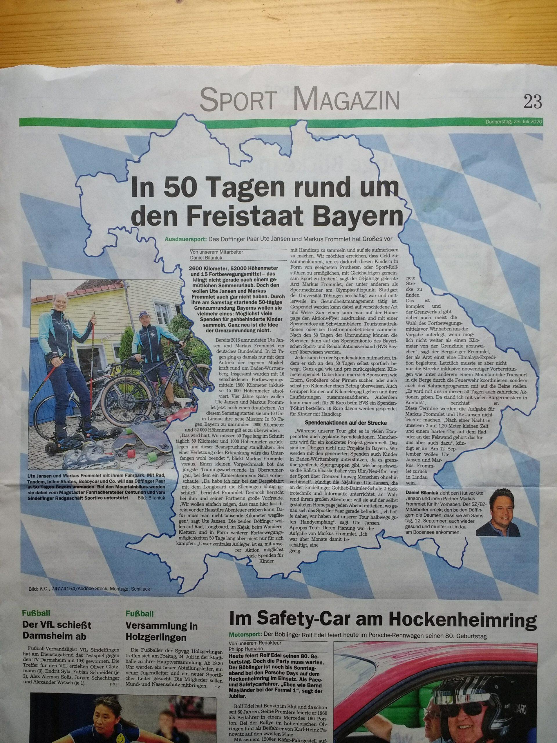 Artikel Sindelfinger Zeitung zur Grenzumrundung Bayerns