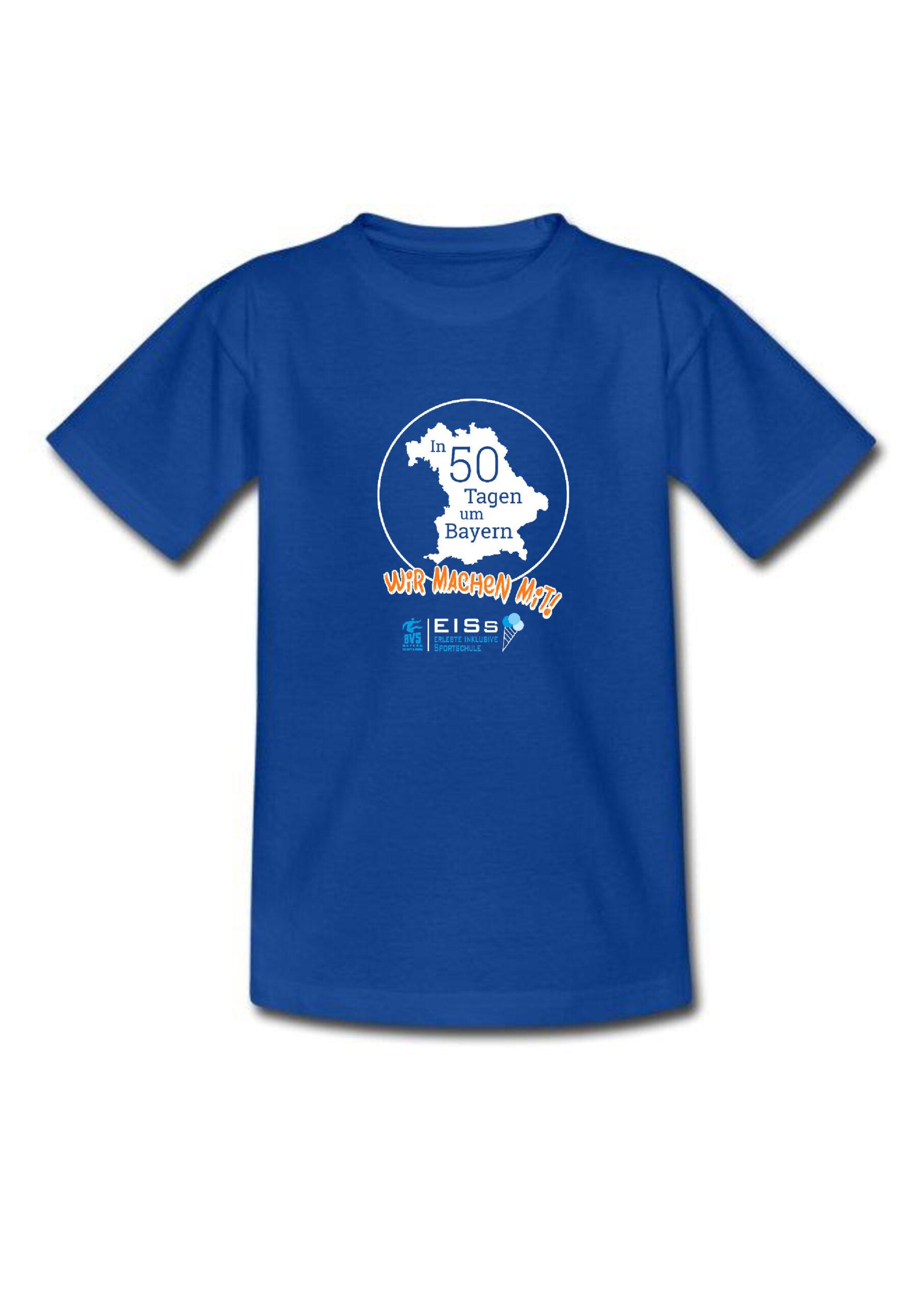 T-Shirt dunkelblau mit rund-um-Bayern- und EISs-Logo